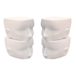Matte White Chopped Heads Sunglass Display - Set of 4