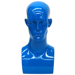 Fiberglass Male Head Display - Gloss Blue