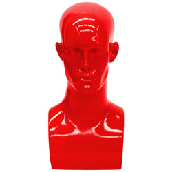 Fiberglass Male Head Display - Gloss Red