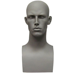 Fiberglass Male Head Display - Matte Gray