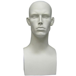 Fiberglass Male Head Display - Matte White