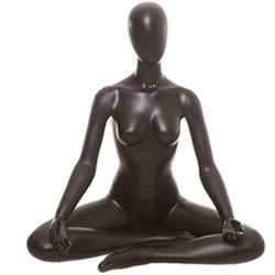 Yoga Mannequin in a Sukhasana Pose - Satin Black