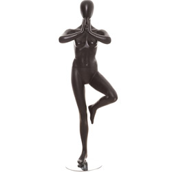 Yoga Mannequin in a Tree Pose - Satin Black