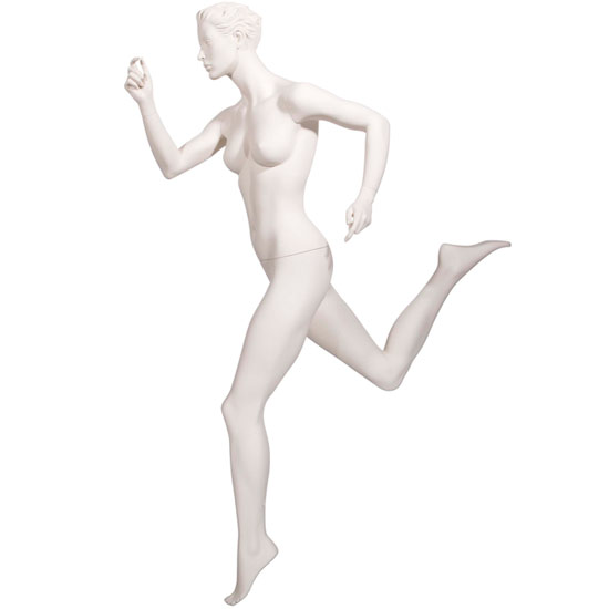 Realistic Female Running Mannequin with Leg Back - Matte Off-White