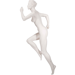 Realistic Female Running Mannequin with High Knee - Matte Off-White