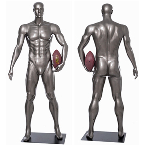 Football Player Mannequin Standing Tall with Football