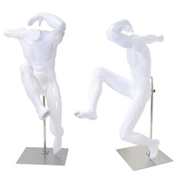 Unique Sport Mannequin - Athletic Male Leaper - White