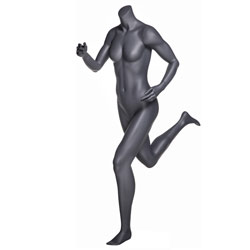 Headless Female Running Mannequin - Matte Gray