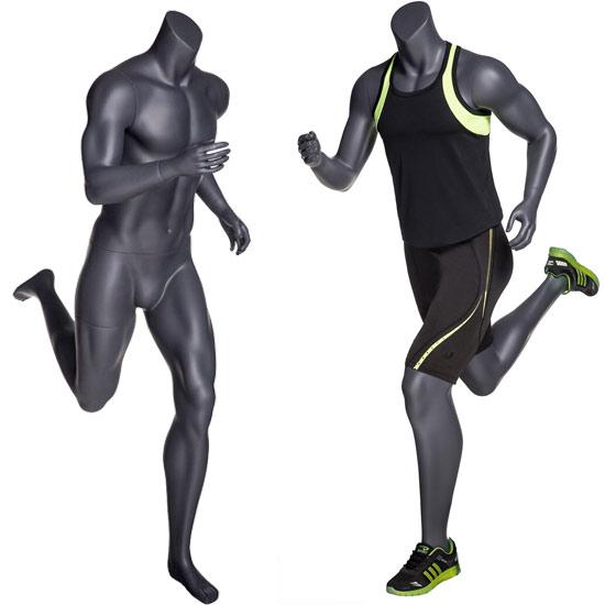 Headless Male Running Mannequin - Matte Gray