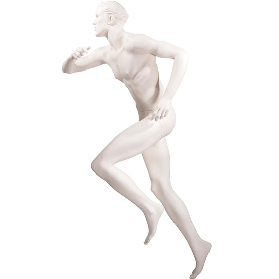 Realistic Male Running Mannequin with High Knee - Matte Off-White