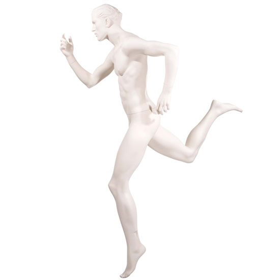 Realistic Male Running Mannequin with Leg Back - Matte Off-White