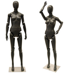 Flexible Female Mannequin with Movable Joints - Satin Black
