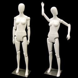 Flexible Female Mannequin with Movable Joints - Gloss White