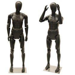 Flexible Male Mannequin with Movable Joints - Satin Black