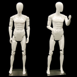 Flexible Male Mannequin with Movable Joints - Gloss White