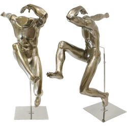 Unique Sport Mannequin - Athletic Male Leaper - Metallic