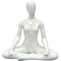 Yoga Mannequin in a Sukhasana Pose - Pearl White
