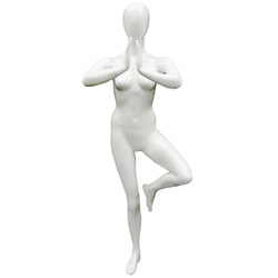 Yoga Mannequin in a Tree Pose - Pearl White