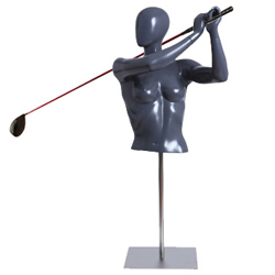 Female Golfer Form Swinging Golf Club with Base