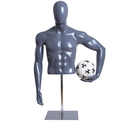 Soccer Player Form Holding Ball with Base